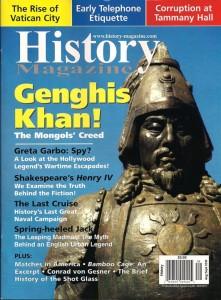 History Magazine (Canada) escolheu esta minha foto que eu fiz na China, perto do Deserto do Gobi como capa para sua ediçao de